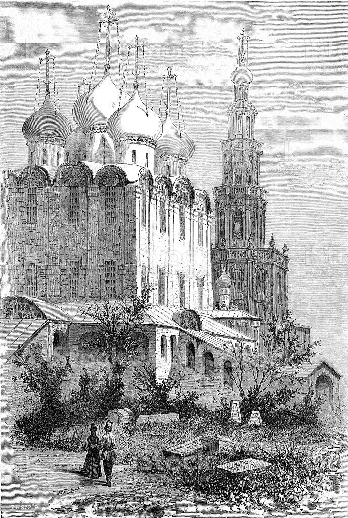 Novodevichy convent royalty-free stock vector art