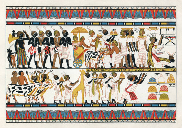 "Nubian tribal chiefs offering gifts to the egyptian king 1380 B.C Nubian tribal chiefs offering gifts to the egyptian king ( 1380 B.C ) Fresco in a thebanian tomb ( XVIII Dynasty ) Original edition from my own archives Source : ""Meyers Konversations-Lexikon"" 1896 ancient egyptian culture stock illustrations"