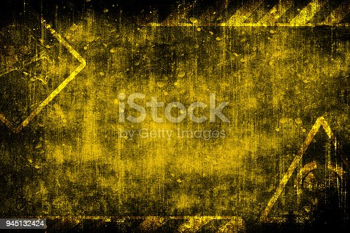 Abstract futuristic grunge industrial vintage background. Nuclear radiation sign. Blueprint on old grungy surface. Futuristic technology design. Cyber punk monochrome illustration