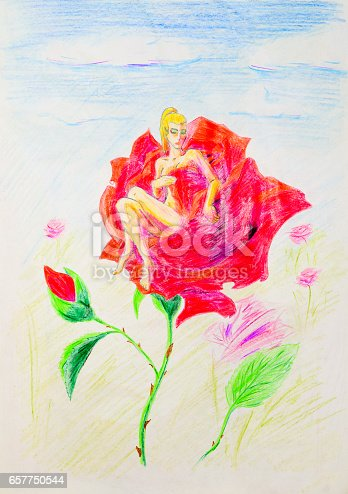 Nude girl sitting in rose petals. Thumbelina naked on a flower.