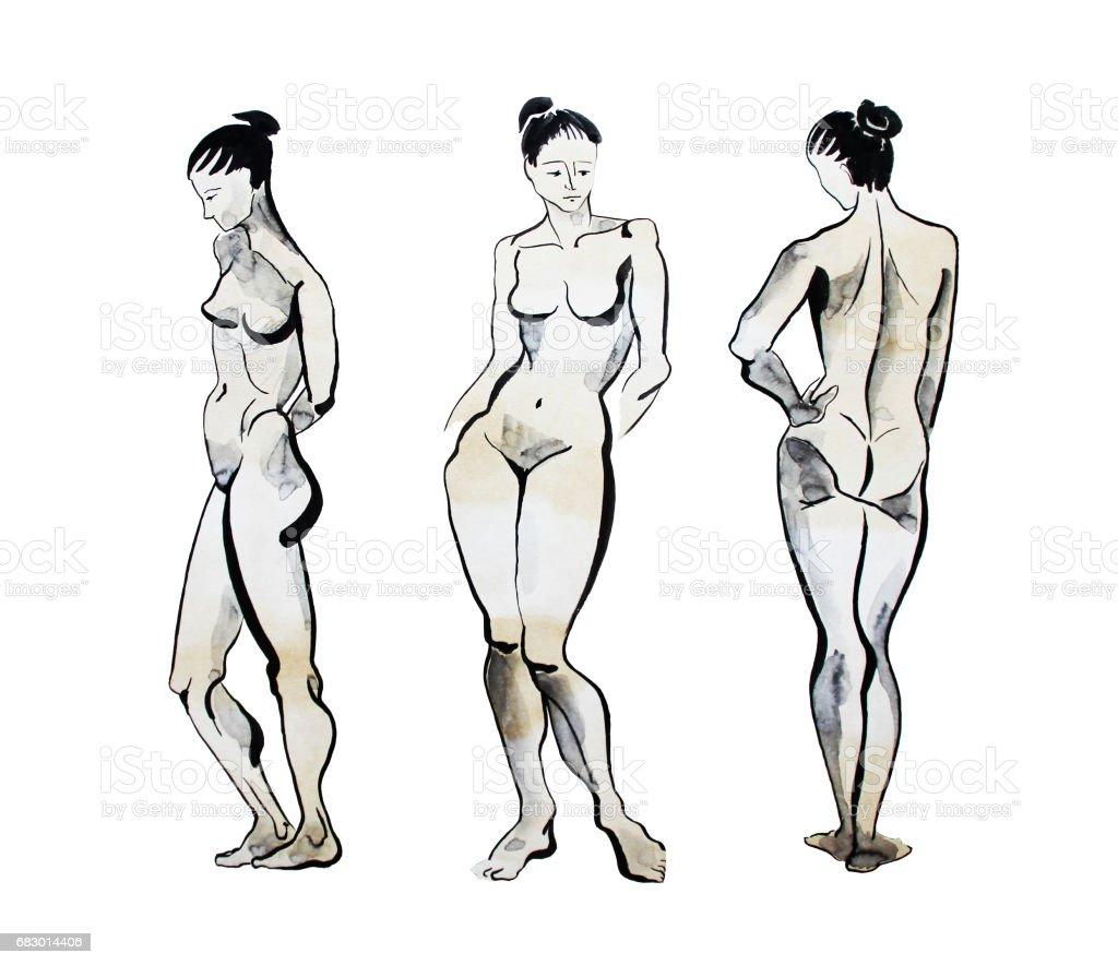 Nude model poses, hand drawn watercolor illustration nude model poses hand drawn watercolor illustration - arte vetorial de stock e mais imagens de adulto royalty-free