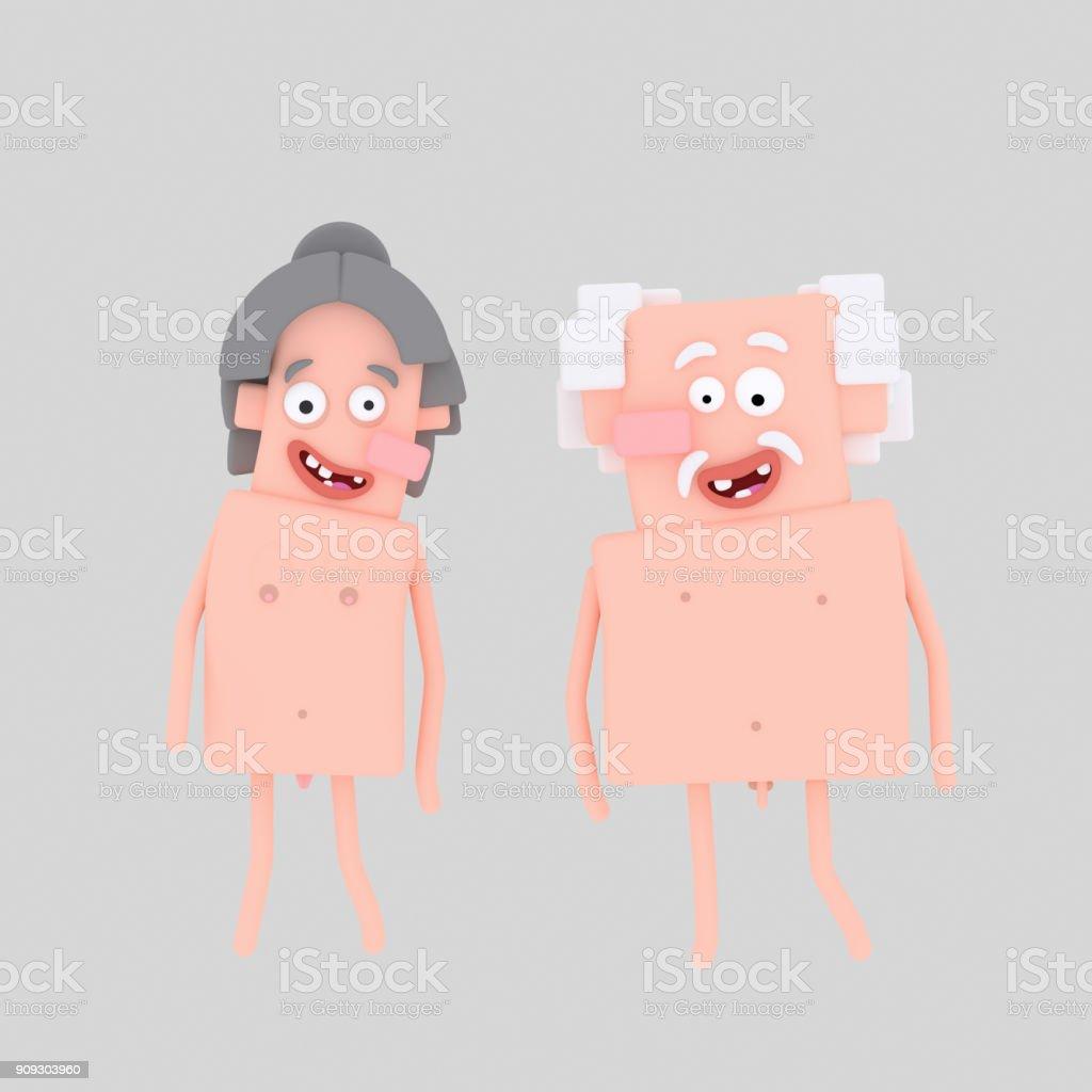 Par viejas desnudas - ilustración de arte vectorial