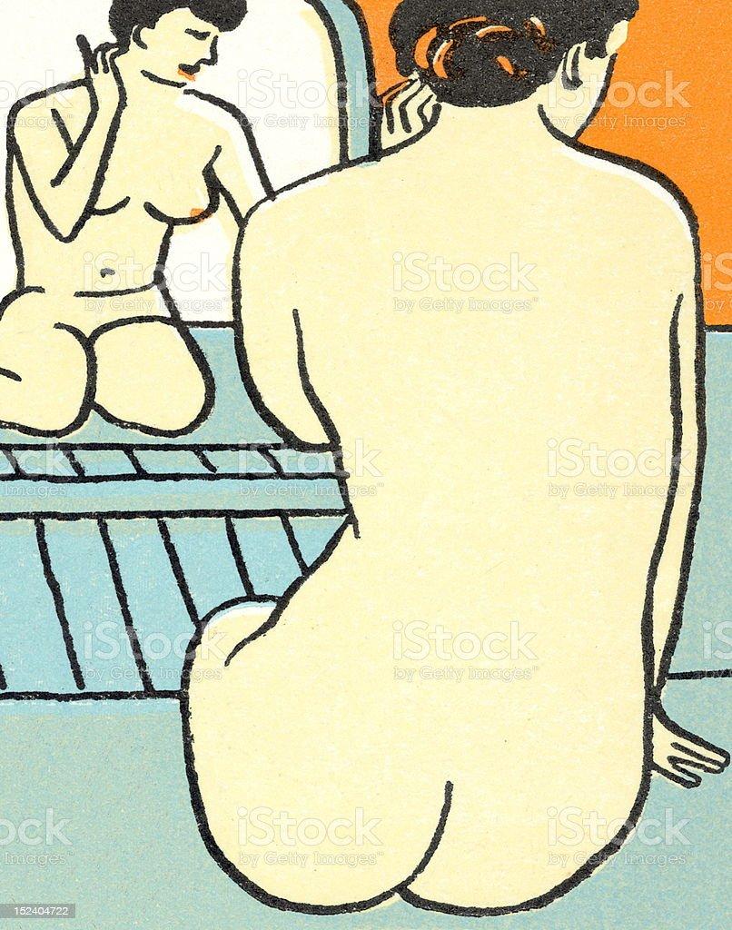Nude Woman Kneeling in Front of Mirror royalty-free stock vector art
