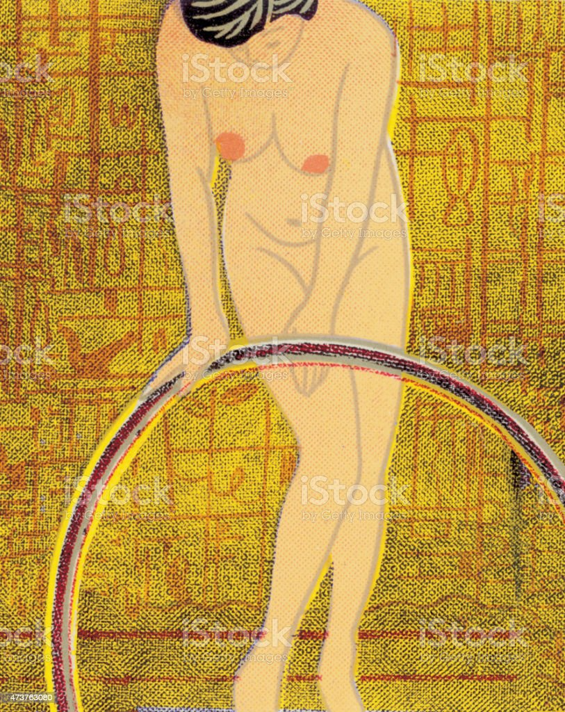 nude woman with hula hoop stock vector art 473763080 | istock