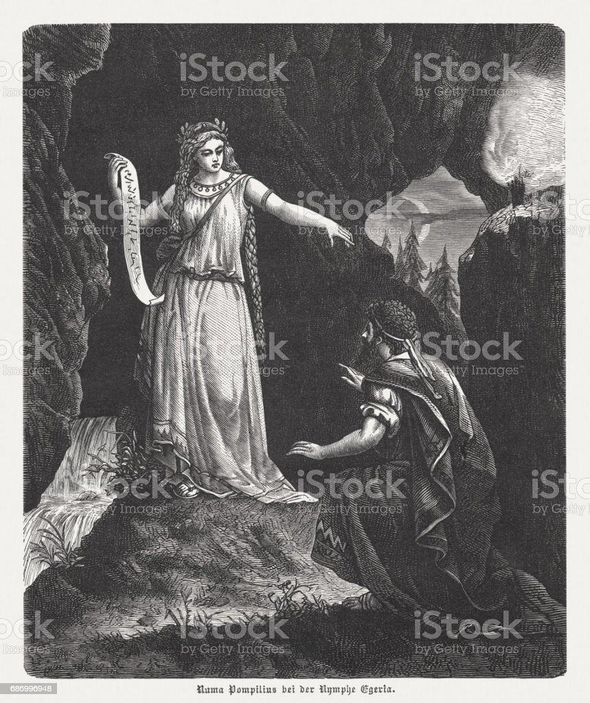 Numa Pompilius bei der Nymphe Egeria, Holzstich, veröffentlicht 1880 Lizenzfreies numa pompilius bei der nymphe egeria holzstich veröffentlicht 1880 stock vektor art und mehr bilder von 7. jahrhundert vor christus