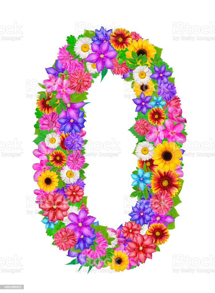 Number 0 Made From Flowers Stock Illustration - Download Image Now