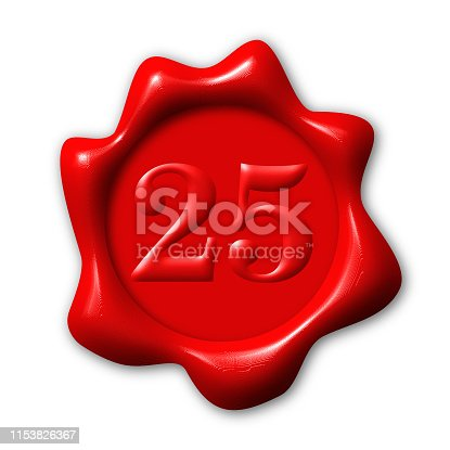 Number 25 on realistic wax seal, concept quantity best object