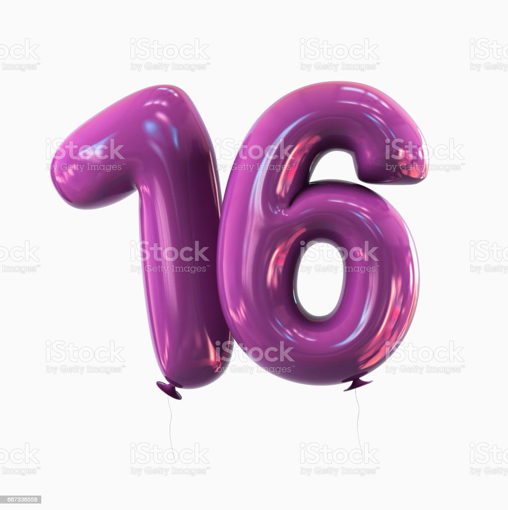 Number 16 Balloon font isolated on White Background vector art illustration