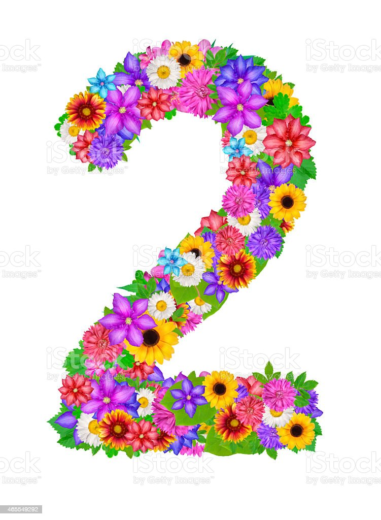 Number 2 Made From Flowers Stock Illustration - Download Image Now