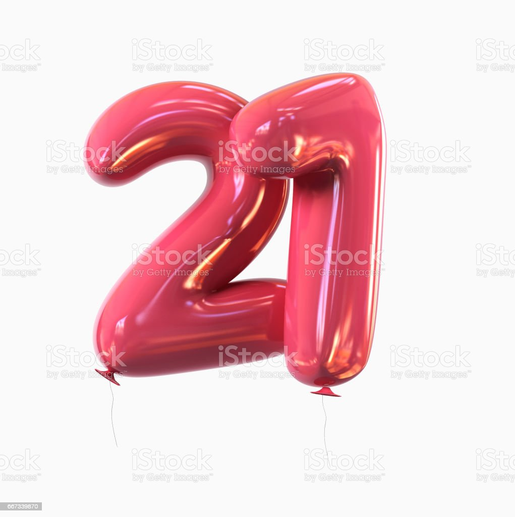 Number 21. Balloon font isolated on White Background vector art illustration