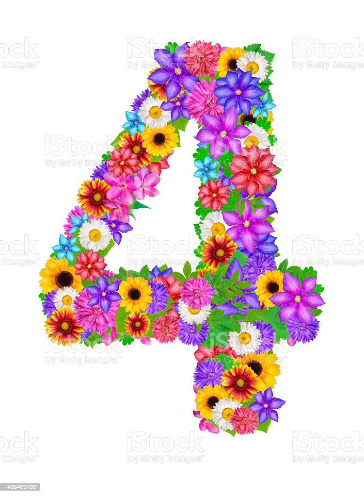 Number 4 Made From Flowers Stock Illustration - Download Image Now