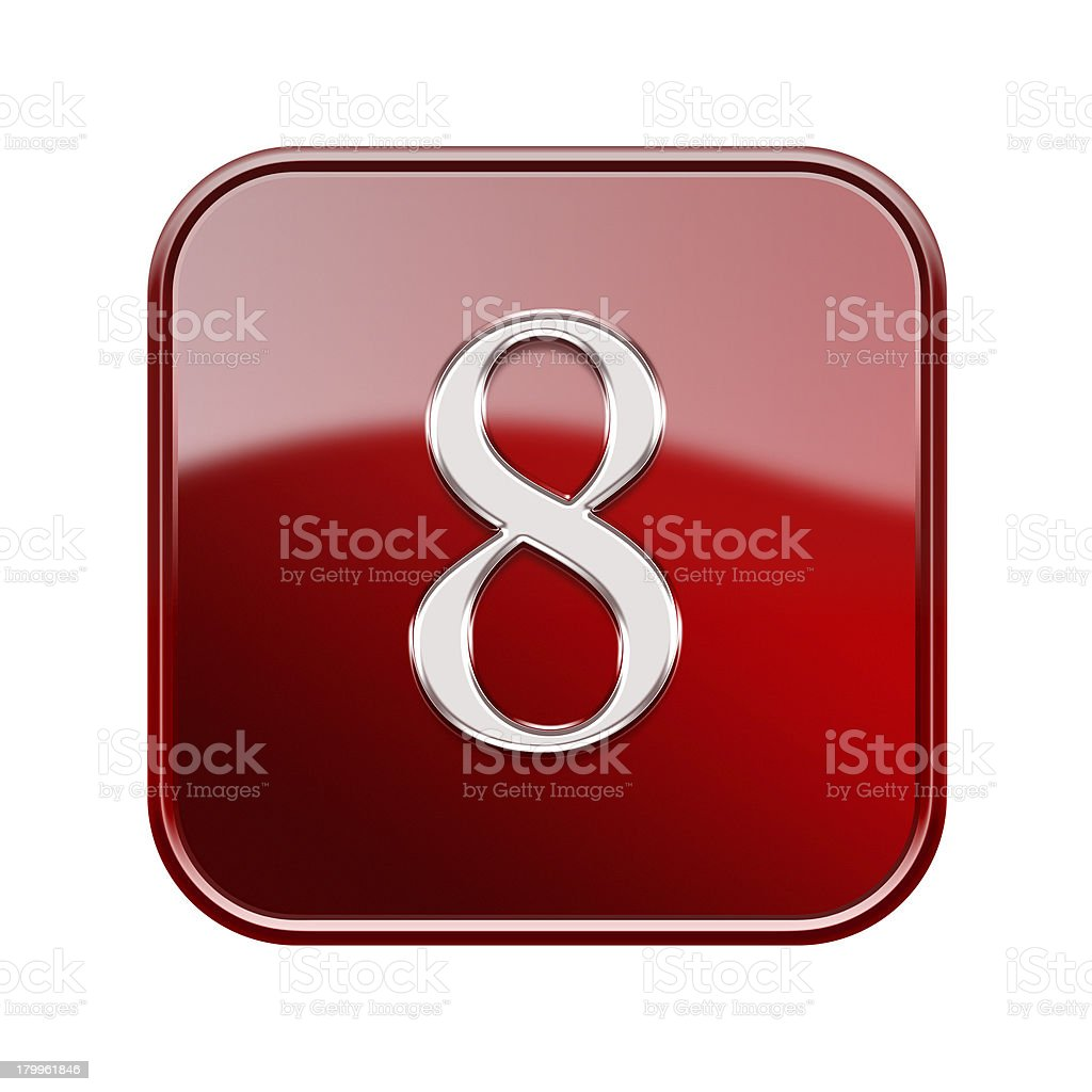Number eight red glossy, isolated on white background royalty-free stock vector art