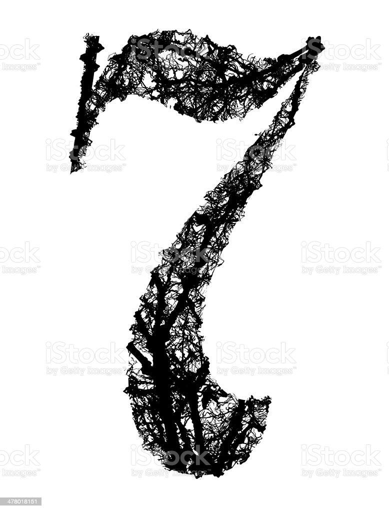 number seven made from black tree branches royalty-free stock vector art