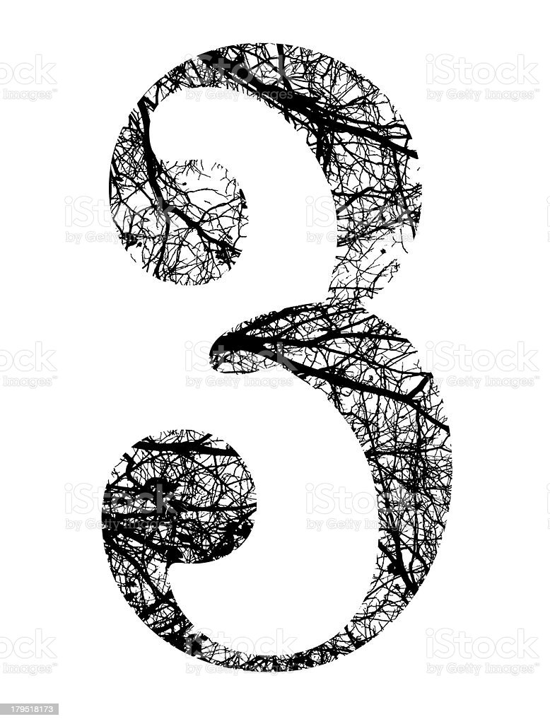 number three made from black tree branches with clipping path royalty-free stock vector art