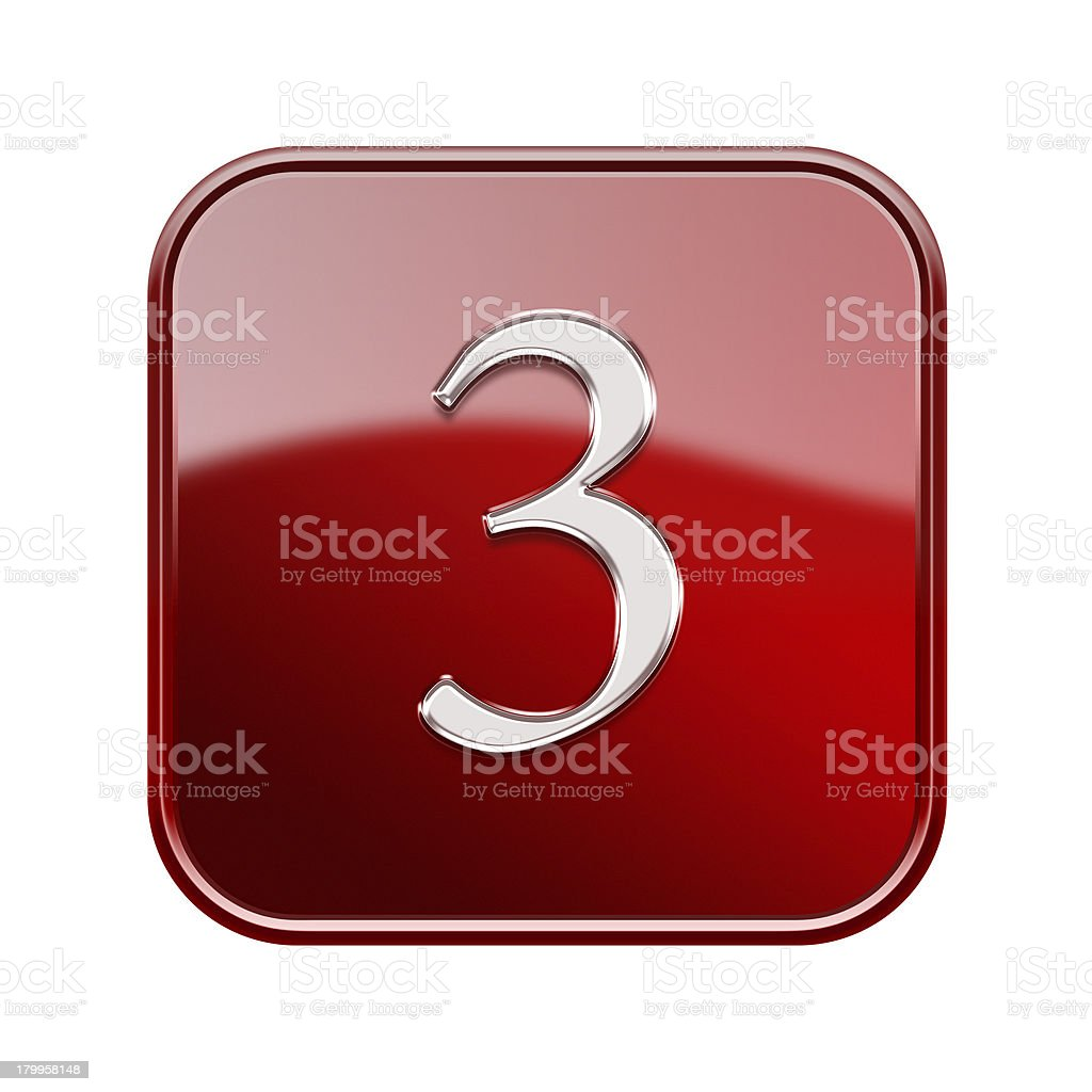 Number three red glossy, isolated on white background royalty-free number three red glossy isolated on white background stock vector art & more images of cut out
