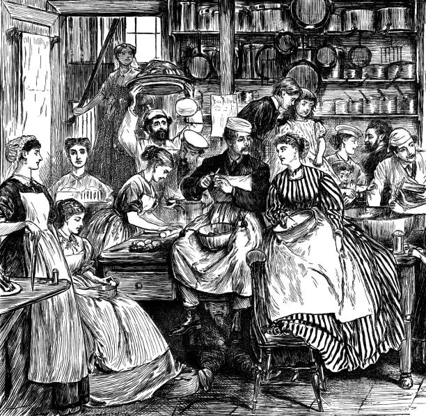 numerous victorian people in a kitchen - busy restaurant kitchen stock illustrations