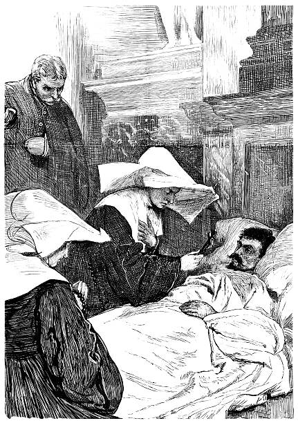 ilustraciones, imágenes clip art, dibujos animados e iconos de stock de monja bendición paciente durante sitio de parís (1881 la ilustración - hermana