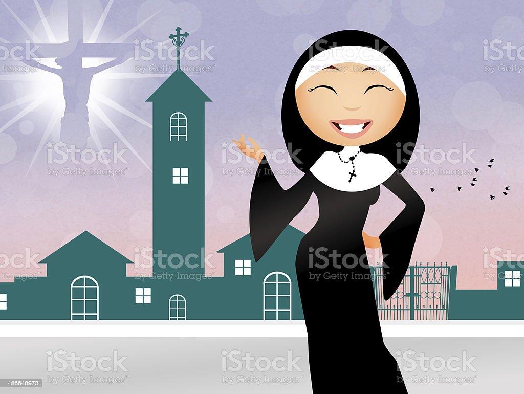 Monja en la iglesia - ilustración de arte vectorial