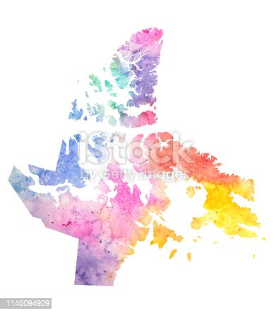 Nunavut Watercolor Raster Map Illustration in Pastel Rainbow Colours