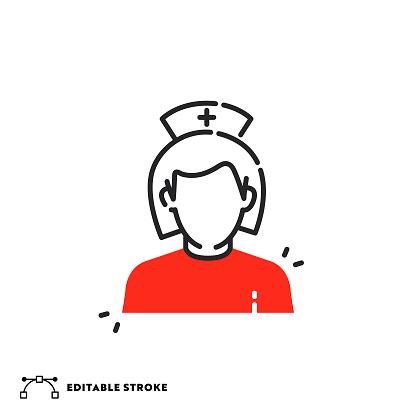 Nurse Flat Line Icon with Editable Stroke