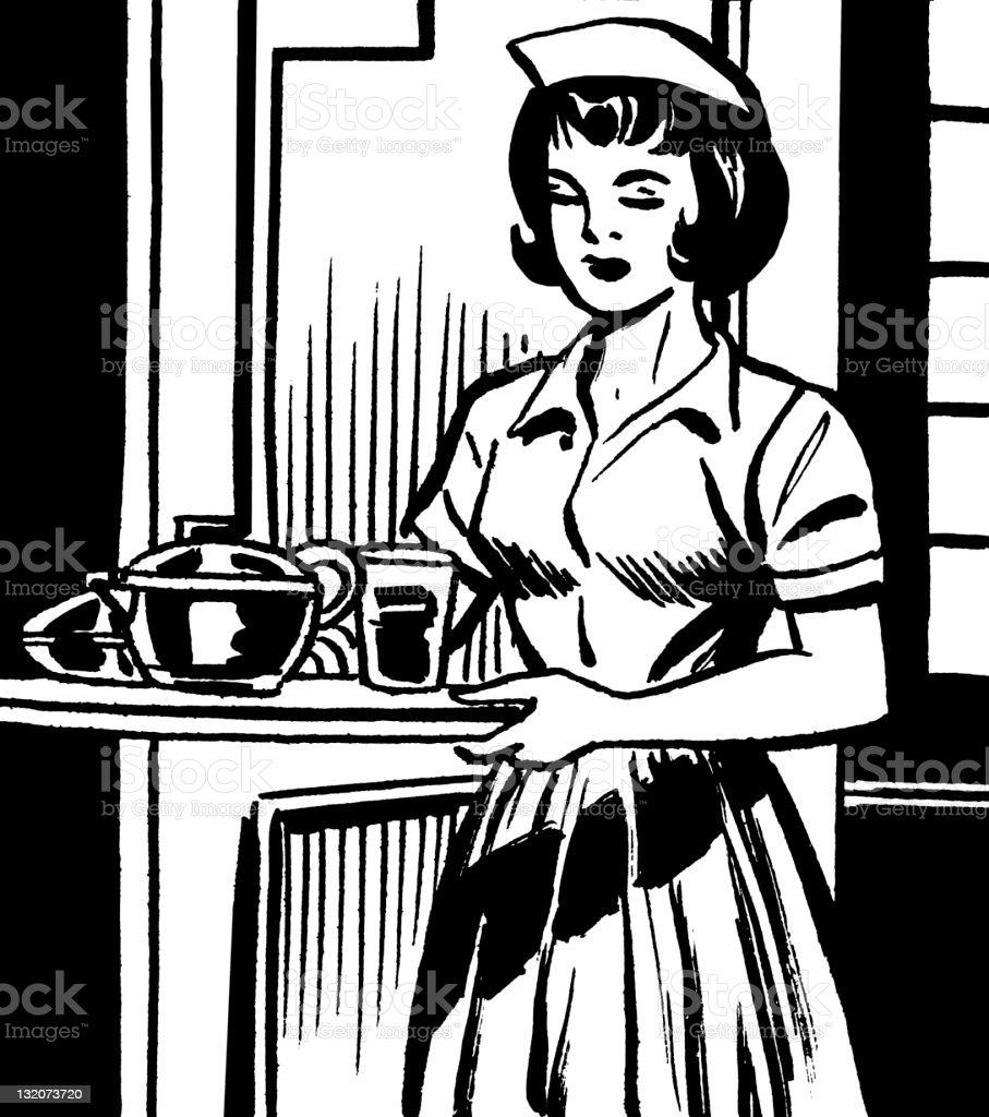 Nurse Holding Tray of Food and Drink royalty-free stock vector art