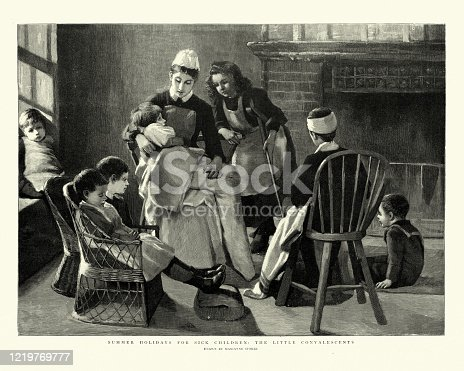 Vintage engraving of a Nurse looking after sick children, Victorian 19th Century. Summer holidays for sick children, the little convalescents by Marianne Stokes