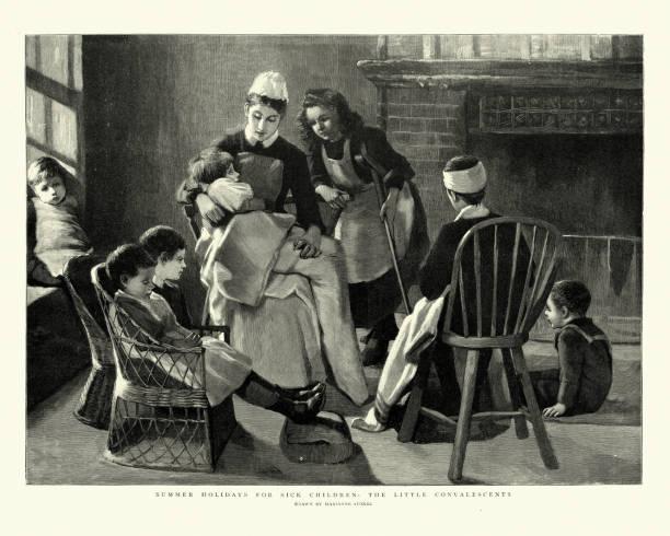 Nurse looking after sick children, Victorian 19th Century vector art illustration