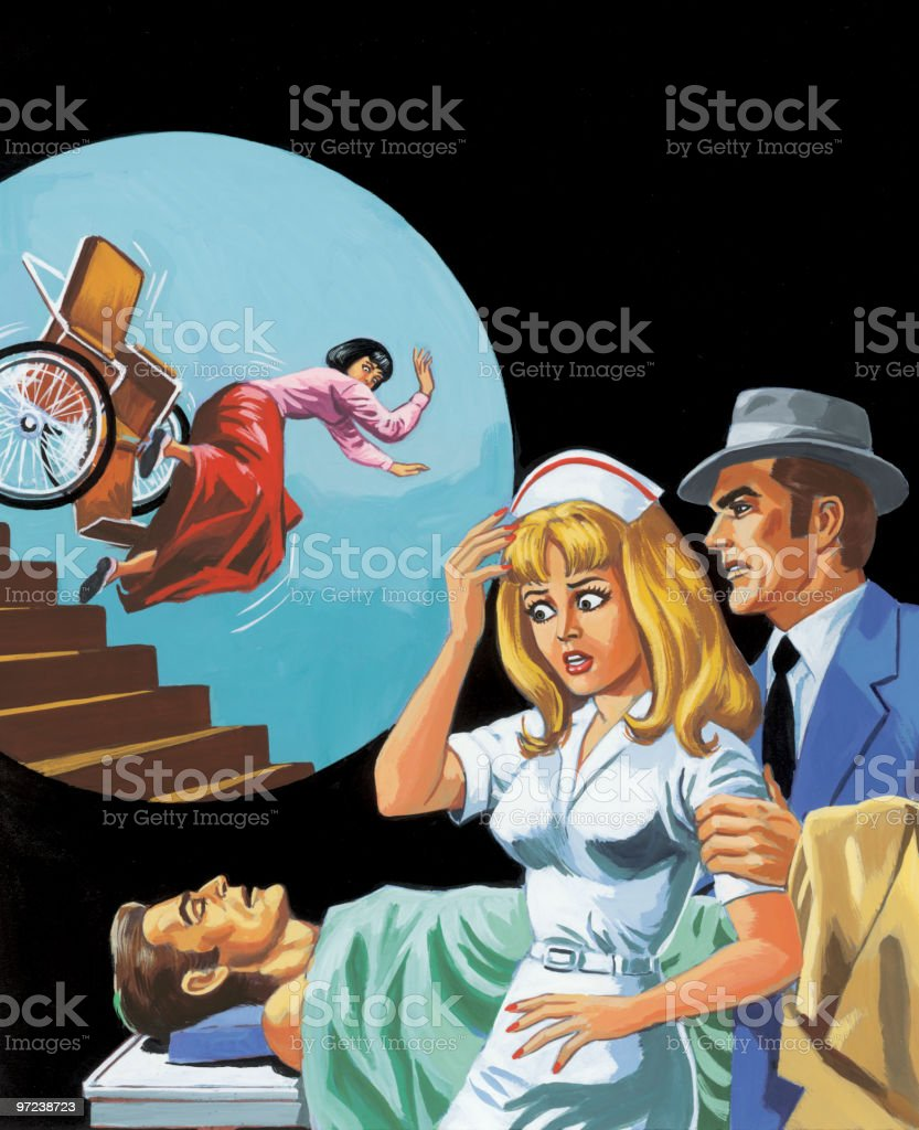 Nurse, Man, Patient and Woman Falling Down the Stairs vector art illustration