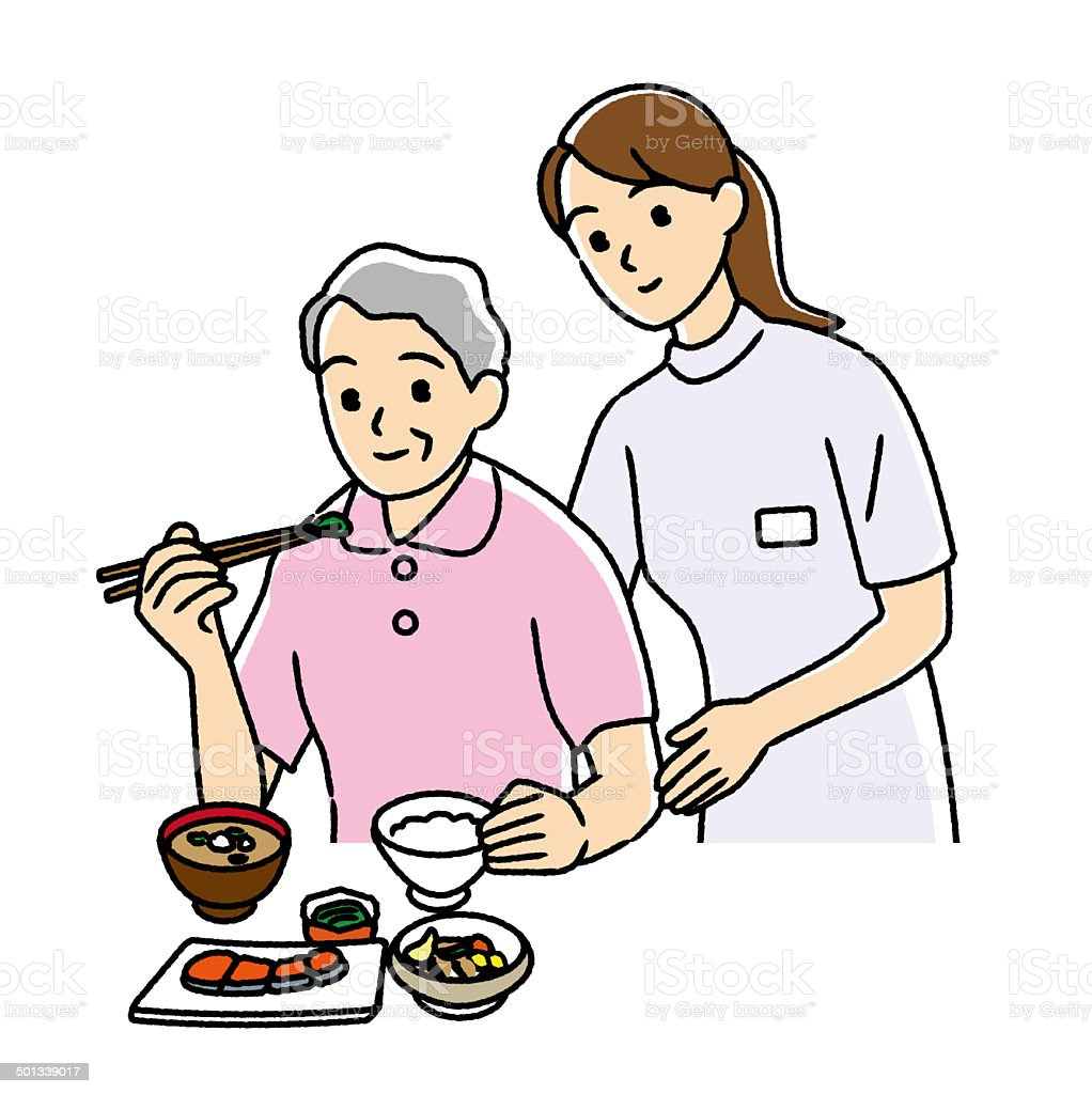 Nurse to help the diet of the elderly. vector art illustration
