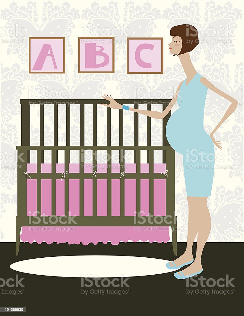 Nursery with Expectant Mom royalty-free stock vector art