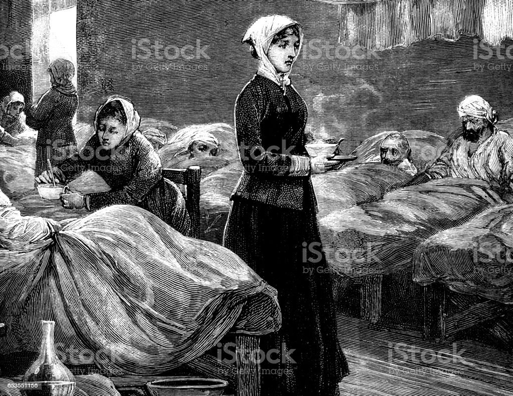 Nurses and patients in a late 19th century military hospital vector art illustration