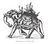 istock Nymphs of the Milk Sea, Hindu and Buddhist Religious Symbols and Religious Implements Engraving Antique Illustration, Published 1851 1178355367