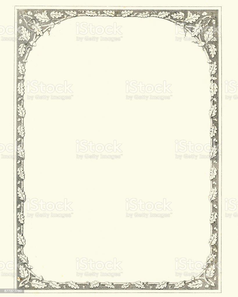Oak leaf and acorn retro border vector art illustration