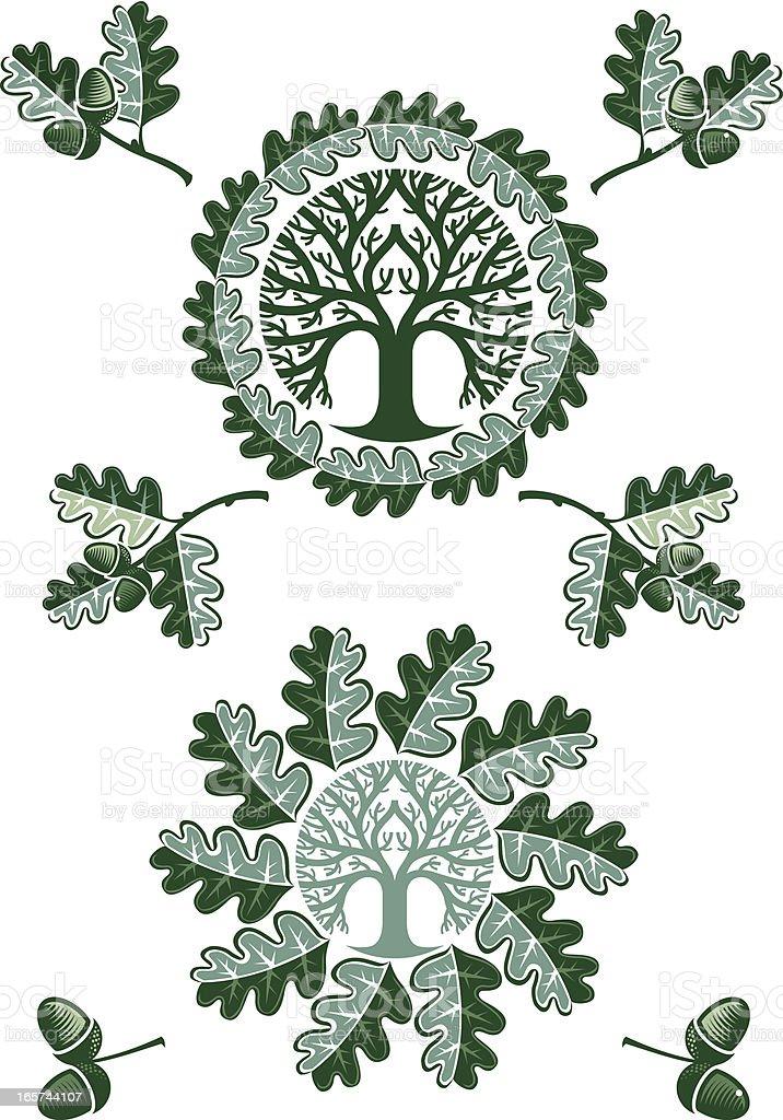 Oak leaf circles royalty-free stock vector art