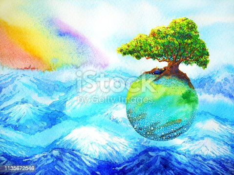 653098388istockphoto Oak tree on colorful earth floating above mountain with rainbow sky watercolor painting 1135672546