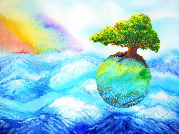 bildbanksillustrationer, clip art samt tecknat material och ikoner med oak tree på färgglada jorden flyter över berget med regnbåge himmel akvarell målning - earth from space