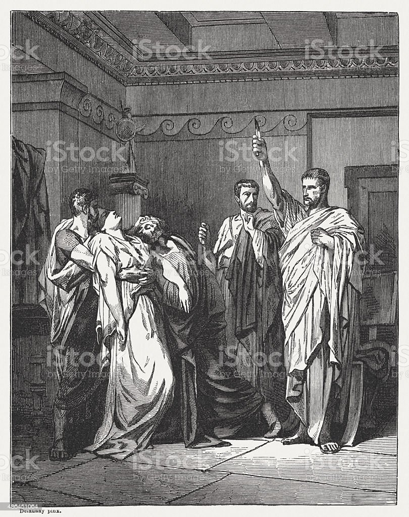 Oath of Brutus by French painter Delaunay, published in 1878 vector art illustration