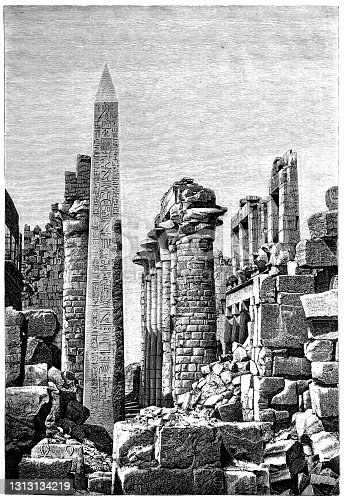 istock Obelisk of Tutmosis I in a part of the front column hall of the Temple of Karnak, Luxor, Upper Egypt 1313134219