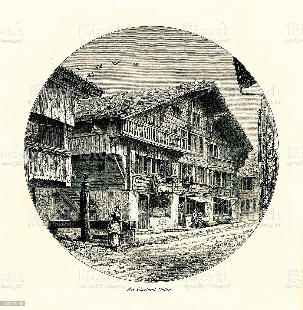 Oberland chalet, Switzerland I Antique European Illustrations vector art illustration