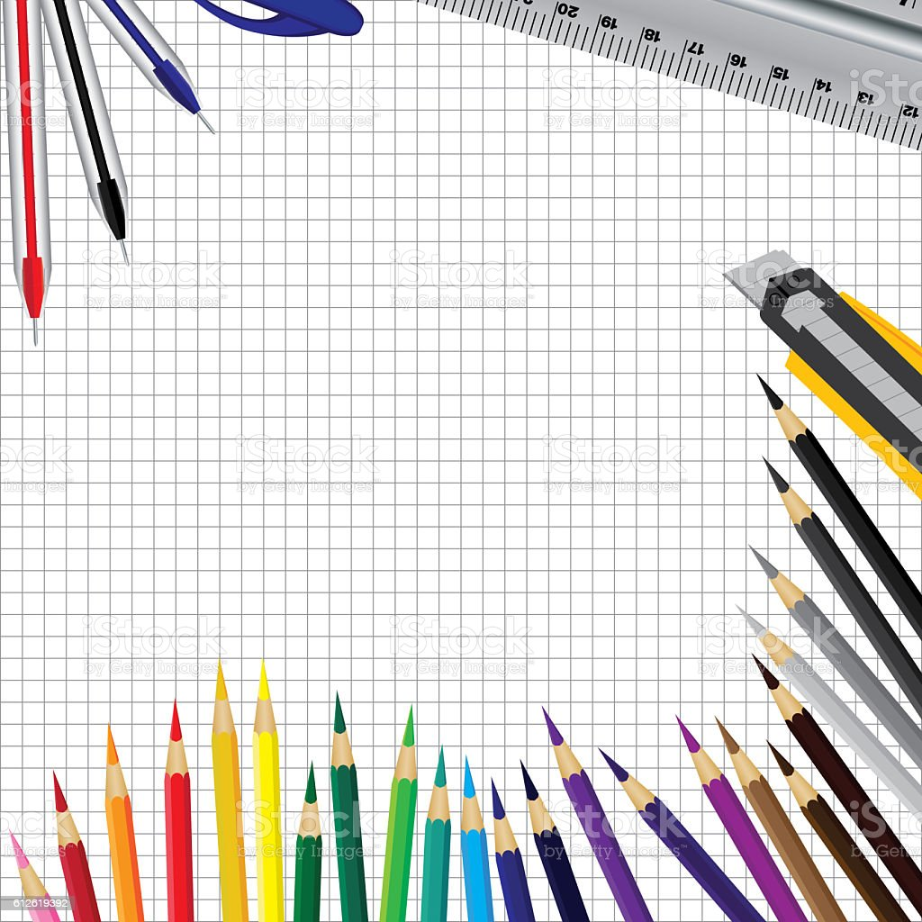 Object tool background. Pen ruler and color pencil. vector art illustration