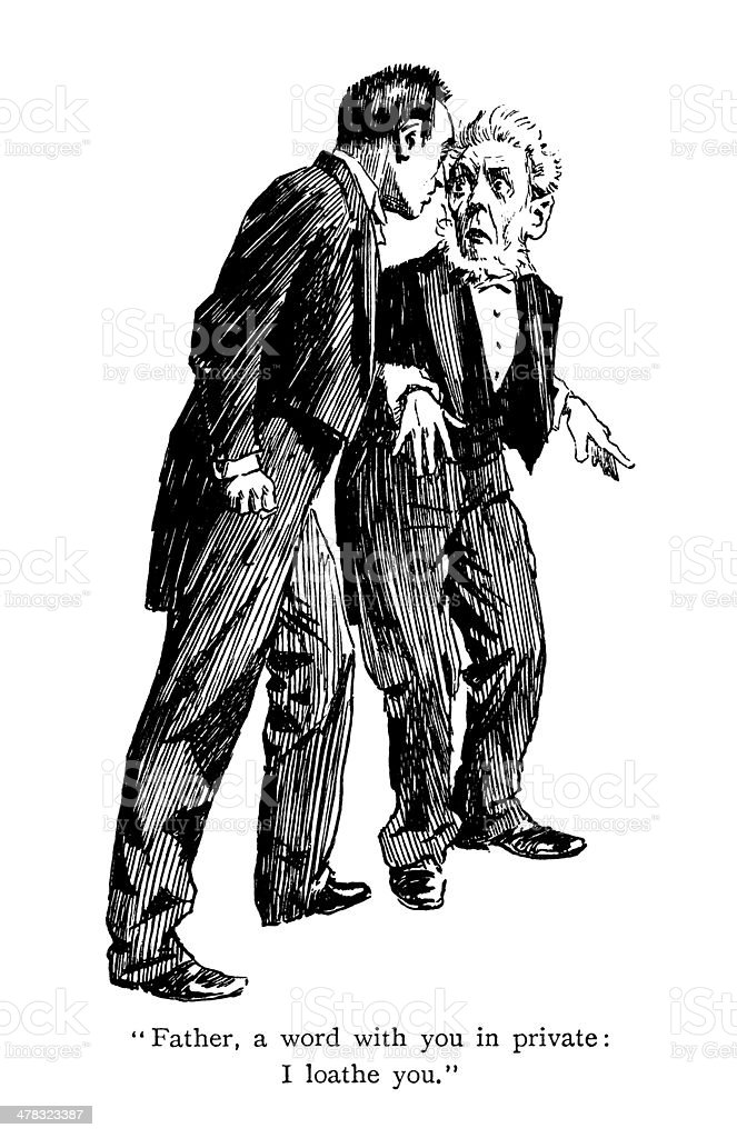 Obnoxious son insulting his father royalty-free obnoxious son insulting his father stock vector art & more images of 1890-1899
