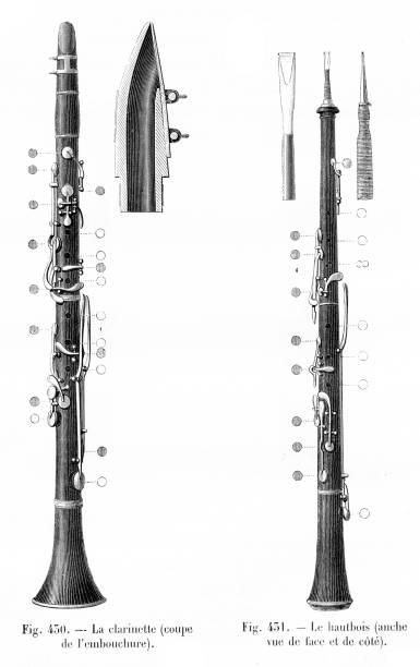 oboe and clarinette engraving 1881 - klarnet stock illustrations