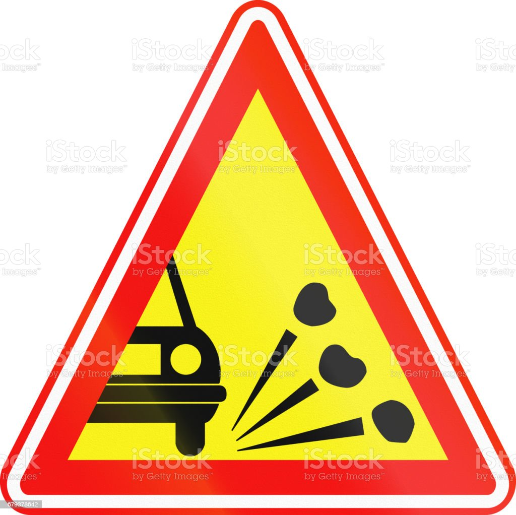 Obsolete Korean Traffic Sign - Loose chippings on road vector art illustration