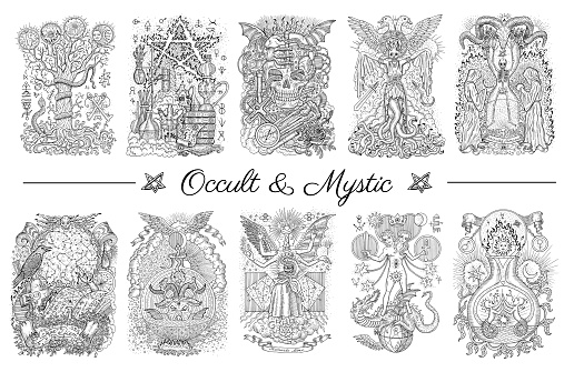 Occult set with graphic engraved illustrations