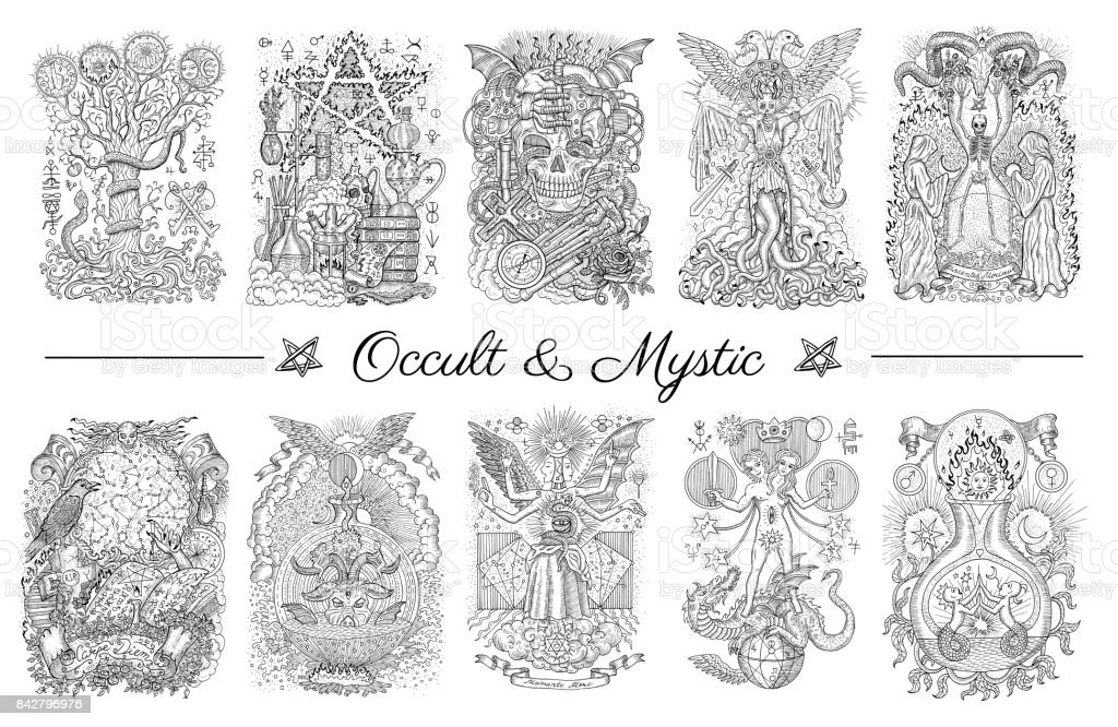 Occult set with graphic engraved illustrations vector art illustration