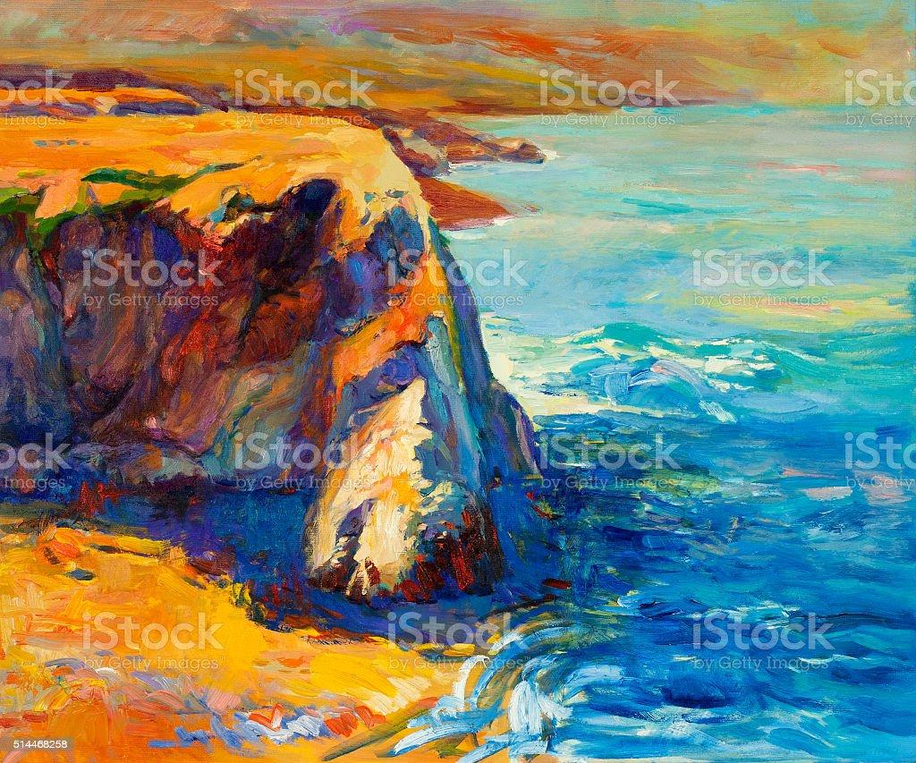 Ocean and cliffs vector art illustration