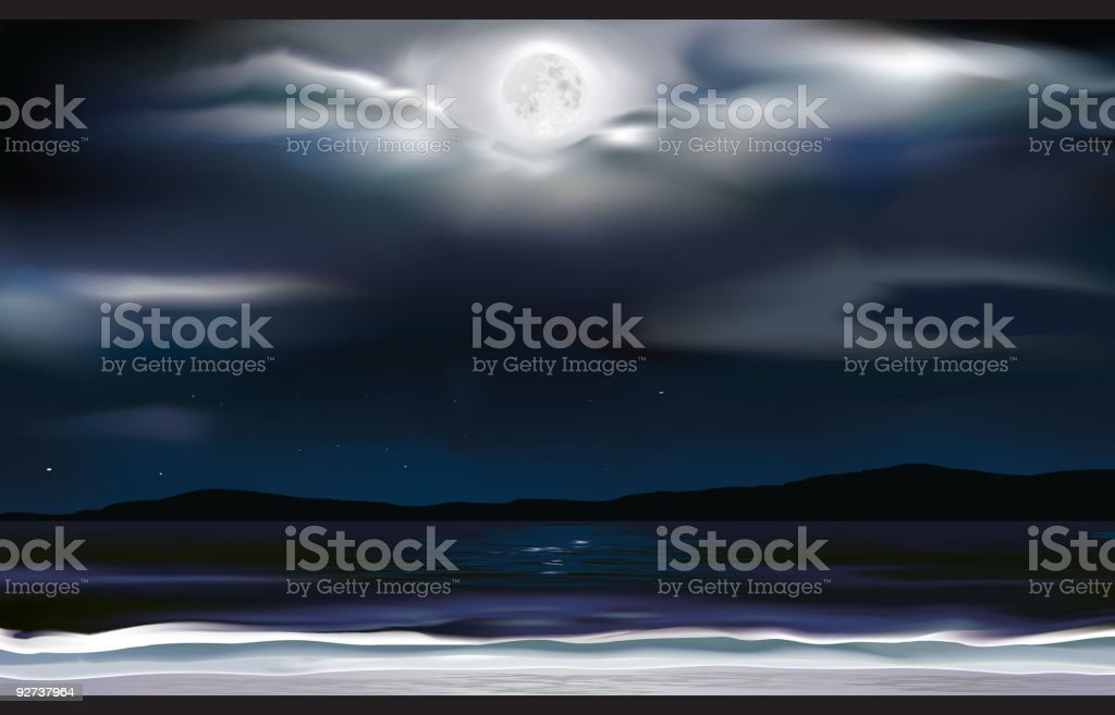 Ocean at Night royalty-free stock vector art