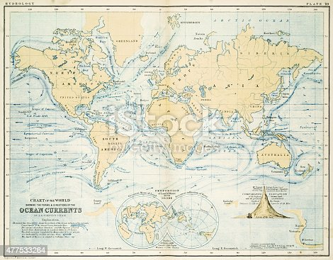 Chart of the world showing the forms and directions of the ocean currents