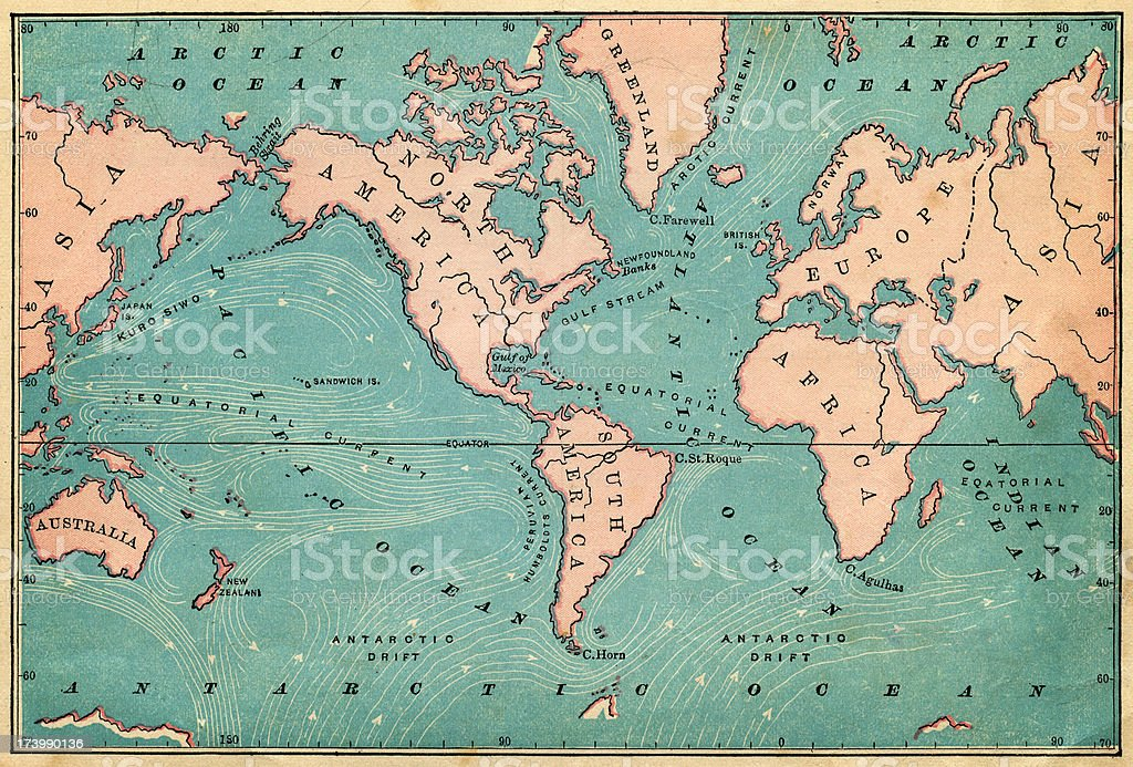 ocean currents map 1876 vector art illustration