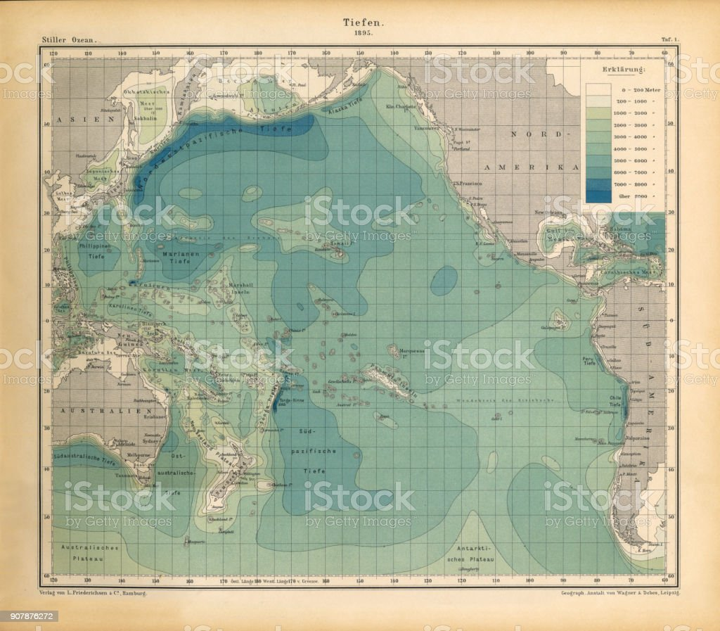 Ocean Depth Chart Pacific Ocean German Antique Victorian Engraving - Pacific ocean depth map